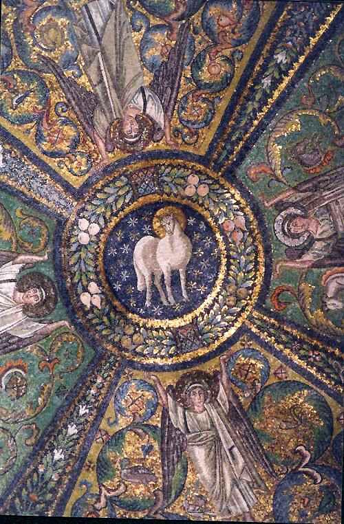 """Arte bizantino. Mosaico de la Iglesia de San Vital de Rávena: """"El cordero místico""""."""