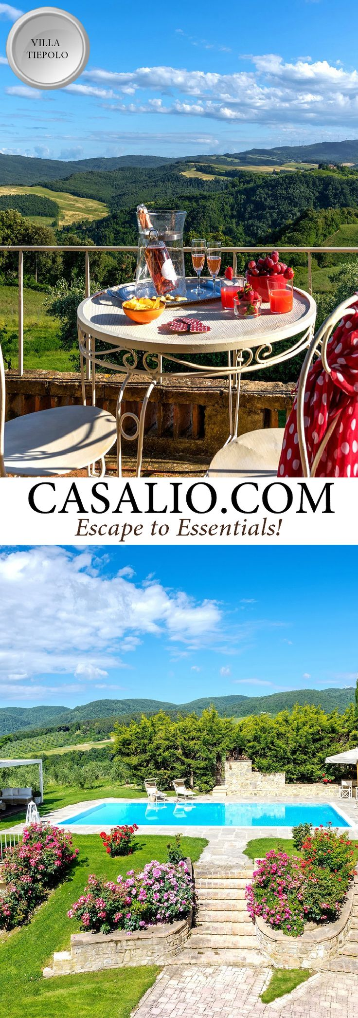 Villa Tiepolo || Italy - Tuscany - Pisa || 7 bedrooms, pool. A magnificent villa overlooking the greenery and beautiful hills of the Chianti. #luxurytravel #travel #luxuryvillas #tuscanyvillas #tuscanvillas #pool #tuscany #pisa #travel #holiday #vacation (Pinned by #Casalio - www.casalio.com) Our travel blog www.casaliotravel.com