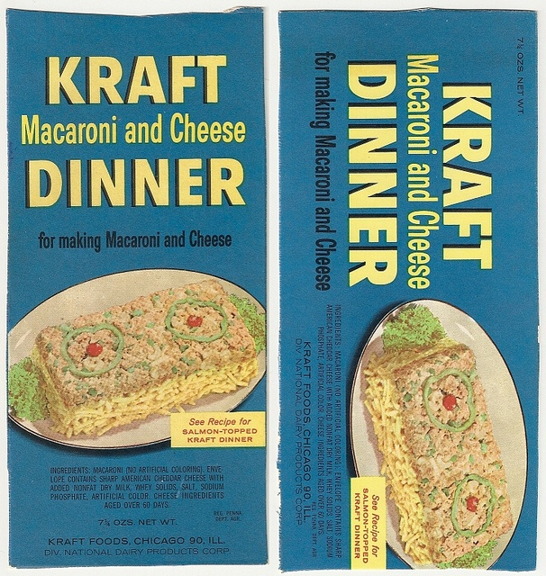Kraft Macaroni and Cheese Packaging before the era of food stylists.                  Vintage Kraft Macaroni and Cheese package - perfect for the dollhouse kitchen