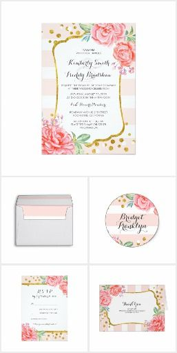 #Floral #Watercolor Stripes Collection Watercolor flowers, stripes and confetti dots collection #weddinginvitations  #rosegold #rosegoldwedding #elegantwedding
