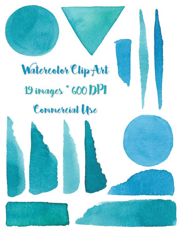 Watercolor Clipart Blue Brushstrokes 600 DPI by LostCoastElements