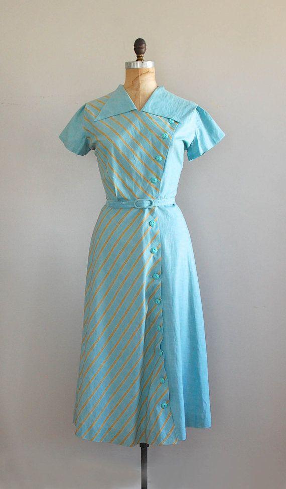 1940s dress / vintage 40s dress / Take to the Sky dress