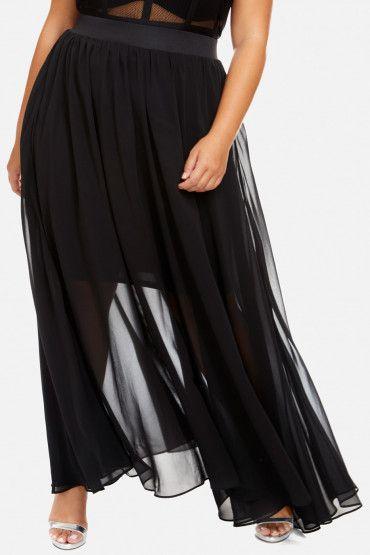 Plus Size Sunset Flowy Chiffon Maxi Skirt