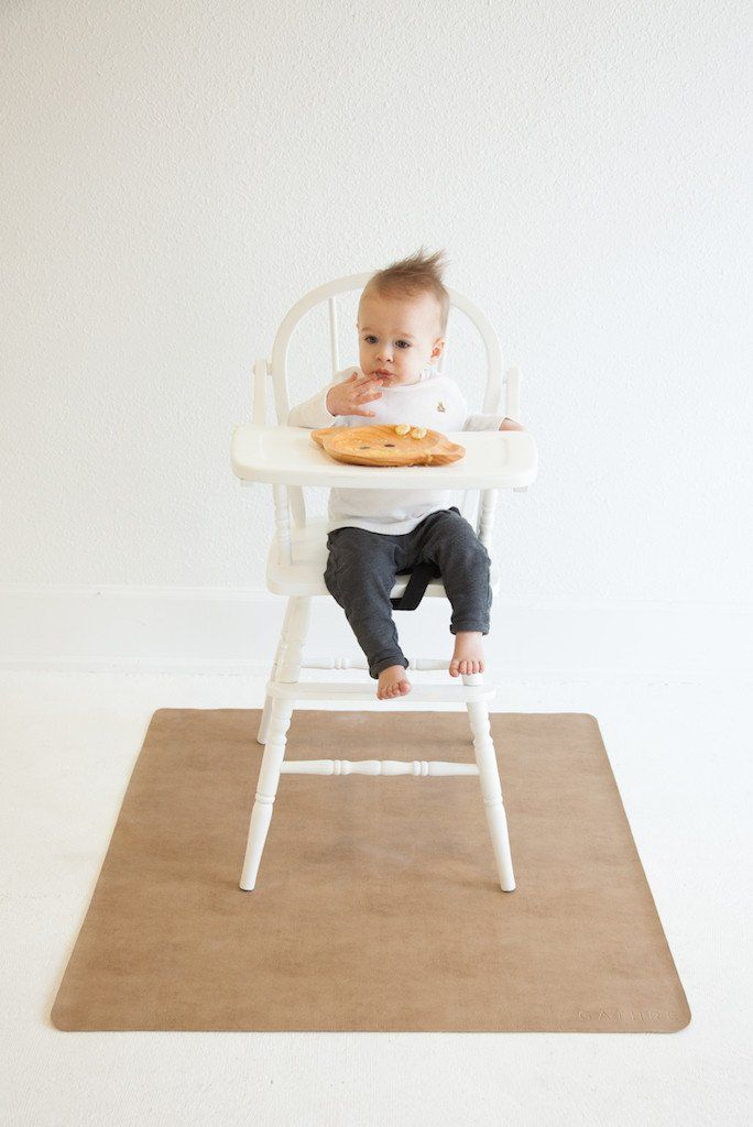 **This product will ship out by or before 02/14/17, thanks for understanding!** Our leather highchair mat has more space to keep up with your growing babe. Put it to work in the kitchen under your tod