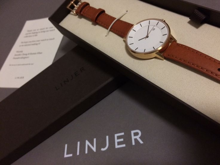 LINJER timepiece with a Swiss quartz movement, a silver case and black leather straps. Built with premium components