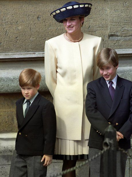 1992: The Two Princes    Diana The Princess of Wales dressed in Spring Lemon with her sons, Prince William and Prince Harry outside St George's Chapel in Windsor for the Easter service... too cute!