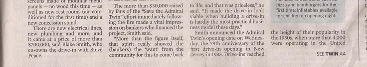 Admiral Twin Drive-In newspaper article