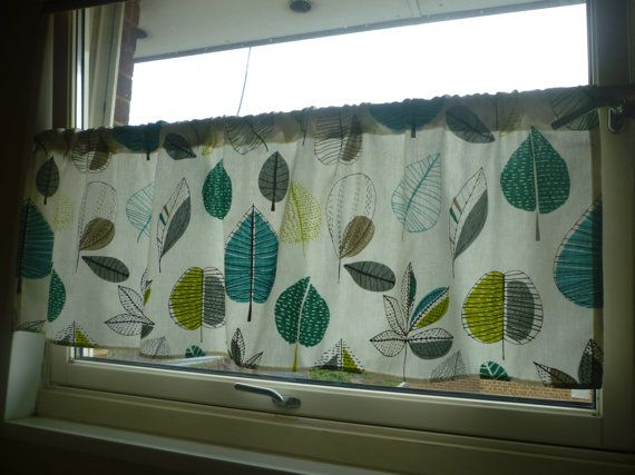 Teal Curtain Valance Cafe Curtain Grey Yellow Green by WickedWalls