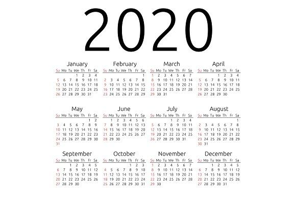 Vector calendar 2020, Sunday by ManyConcepts on @creativemarket