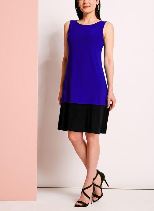 Sleeveless Colour Block Trapeze Dress
