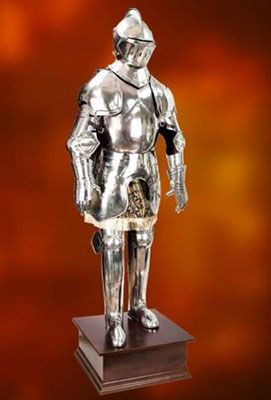 Duke of Burgundy Suit of Armor for sale stands approximately 6 ½ feet tall. The fully articulated Duke of Burgundy Suit of Armor is a full suit of medieval armor designed upon a 1450's Italian style. This beautiful armor is constructed of 18 gauge, hand forged steel and crafted by master blacksmiths. This knightly suit of medieval armor is shipped partially assembled with a gorgeous hardwood display pedestal. Duke of Burgundy Suit of Armor includes a full size skeletal body.