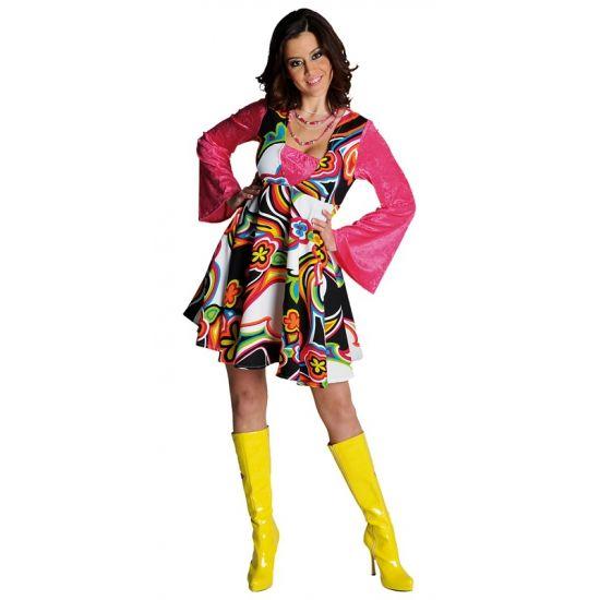 Gekleurde bloemen jurk dames  Gekleurde hippie jurk voor dames. Vrolijk gekleurde hippie jurk voor dames met wijd uitlopende mouwen. De gekleurde hippie jurk voor dames is exclusief accessoires. Wel zijn er verschillende hippie accessoires bij ons verkrijgbaar.  EUR 39.95  Meer informatie