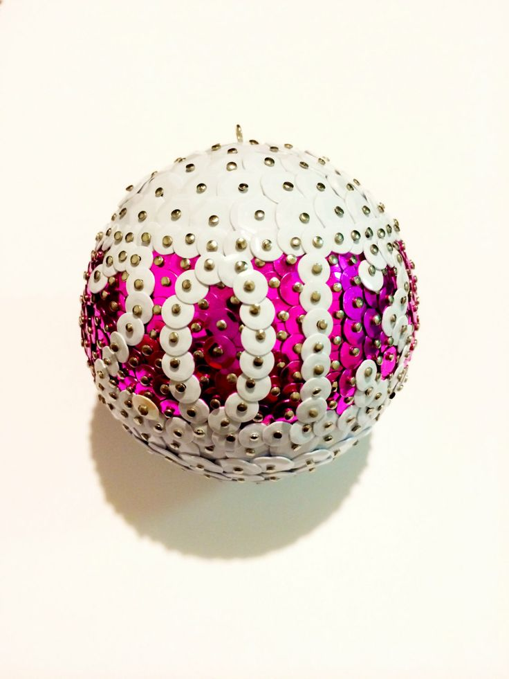 2013 White/Pink Holiday Sequin Ornament by nathanielpw on Etsy, $15.99