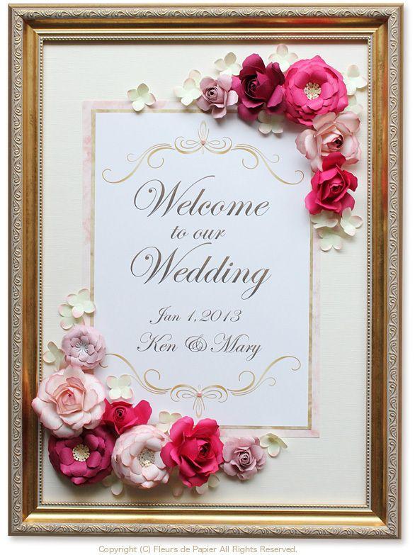 $Fleurs de Papier ~クラフトパンチや花紙で作る立体のお花いろいろ~-クラフトパンチのバラでウェルカムボード