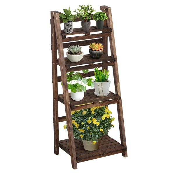 Yaheetech 4 Tier Foldable Plant Stand Ladder Shelf Portable Corner Storage Rack Shelf Display Shelves Indoor Outdoor Walmart Com Plant Stand Plant Stands Outdoor Wooden Plant Stands