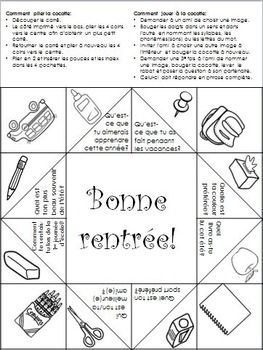 Rentrée Cocotte en papier by La boite de Madame Martine | Teachers Pay Teachers