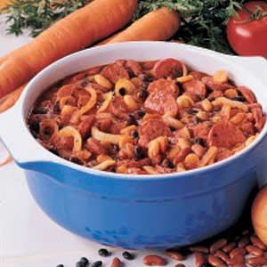 French Country Casserole Recipe -This delicious dish is great for busy nights when you don't have much time to devote to dinner. It's a quick-to-fix version of a traditional French cassoulet that was an instant hit with my husband, who enjoys smoked sausage. Just mix everything together and bake. The heavenly aroma will draw your family to the table. Kim Lowe, Coralville, Iowa