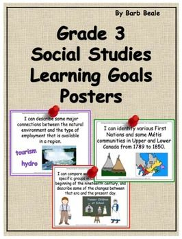 The Ontario Social Studies Curriculum was updated in 2013. These colourful Learning Goals Posters reflect all 38 of the Overall Expectations and Specific Expectations of this new curriculum (Heritage and Identity:  Communities in Canada, 1780-1850 and People and Environments:  Living and Working in Ontario).These posters are visually appealing and can easily be hung on bulletin boards, easels, display boards as well as during your lessons to allow children to focus on the Learning Goal.
