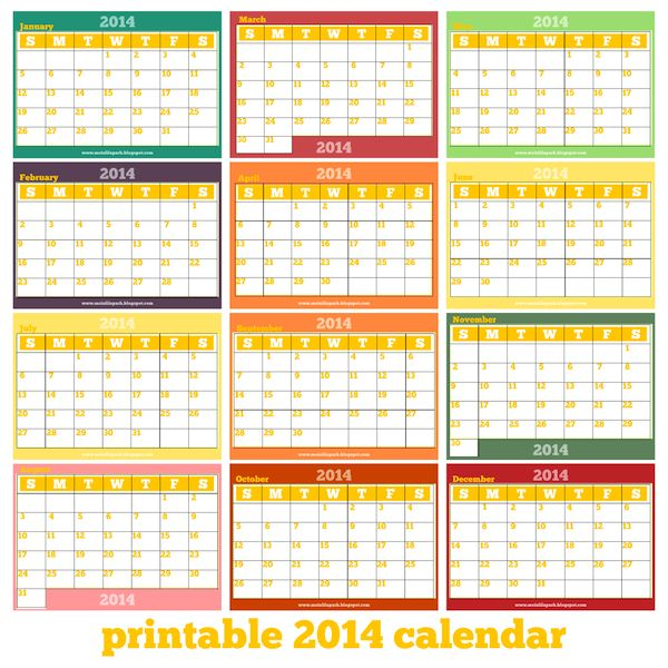 free printable monthly 2014 calendar