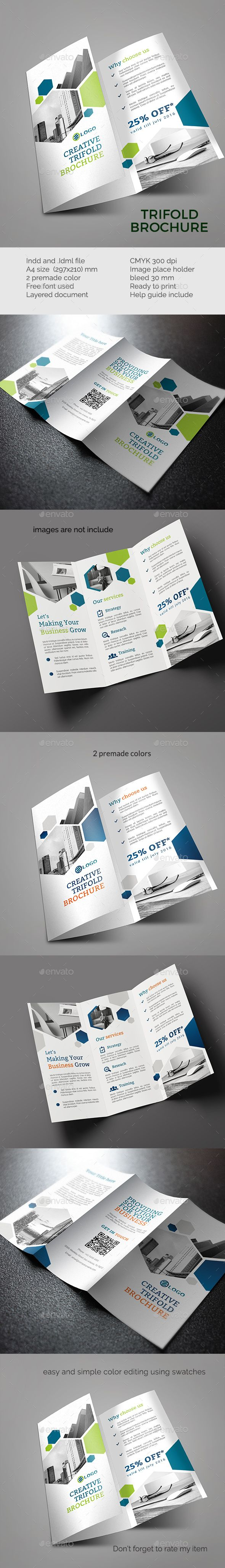 Trifold Brochure Template InDesign INDD. Download here: http://graphicriver.net/item/trifold-template-vol-2/16583153?ref=ksioks
