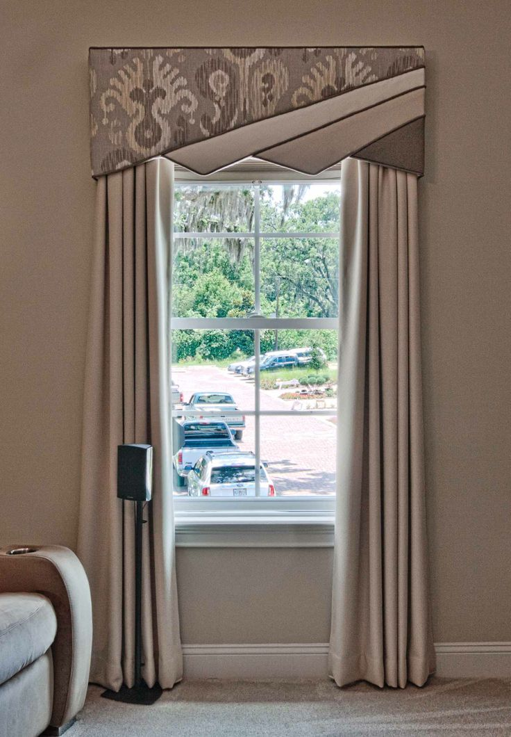 Contemporary Window Treatment Design with a 4 split cornice design and stationary panels in beige.