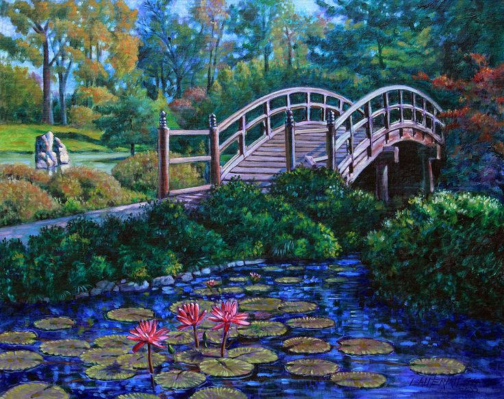 japanese garden bridge painting water lily pinterest