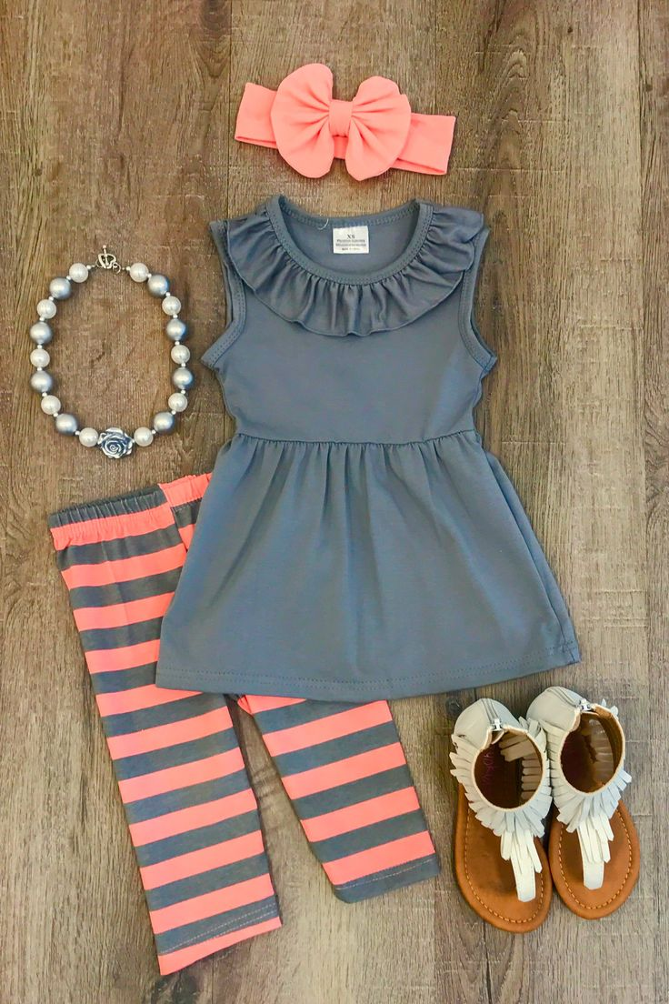 Gray Coral Stripe Capri Set