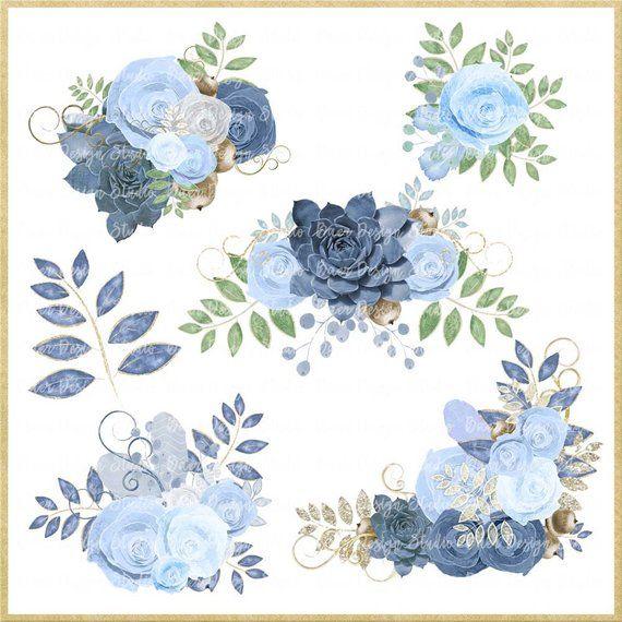 Blue Roses Clip Art Dusty Blue Floral Clip Art Succulent Etsy Scrapbook Borders Clip Art Blue Roses