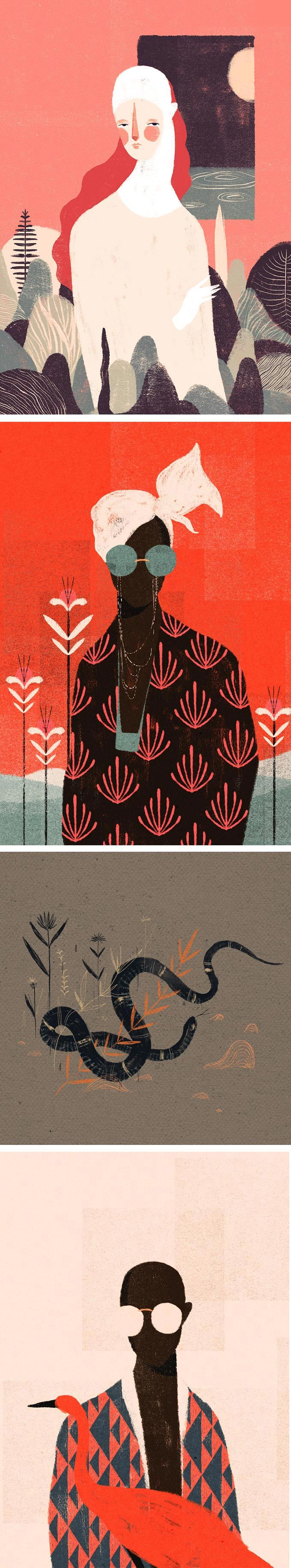 Illustrator Willian Santiago has a gorgeous way of using texture in his works. They have the look of a print, with their distorted edges and color overlay.