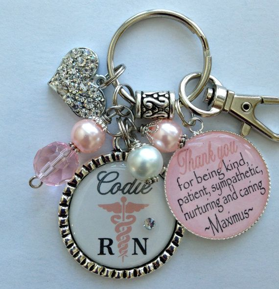 "Medical Field gift keychain Personalized ""Thank you for being kind, patient, sympathetic, nurturing, and caring."" doctor nurse caduceus on Etsy, $25.99"