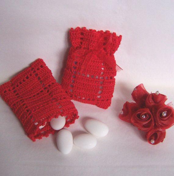 Bomboniera laurea crochet art. 36_rosso