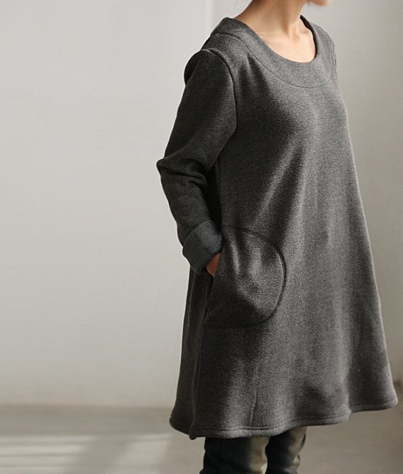 simple warmth Dress bottoming shirt gown by MaLieb on Etsy, $75.00