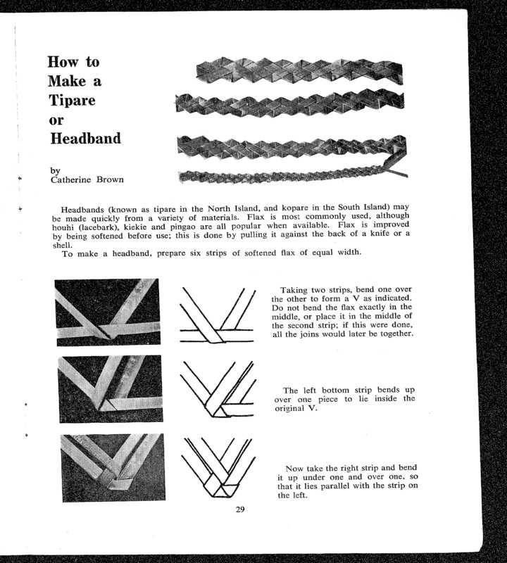 How to make a Tipare or Headband, from Te Ao Hou: The Maori Magazine.