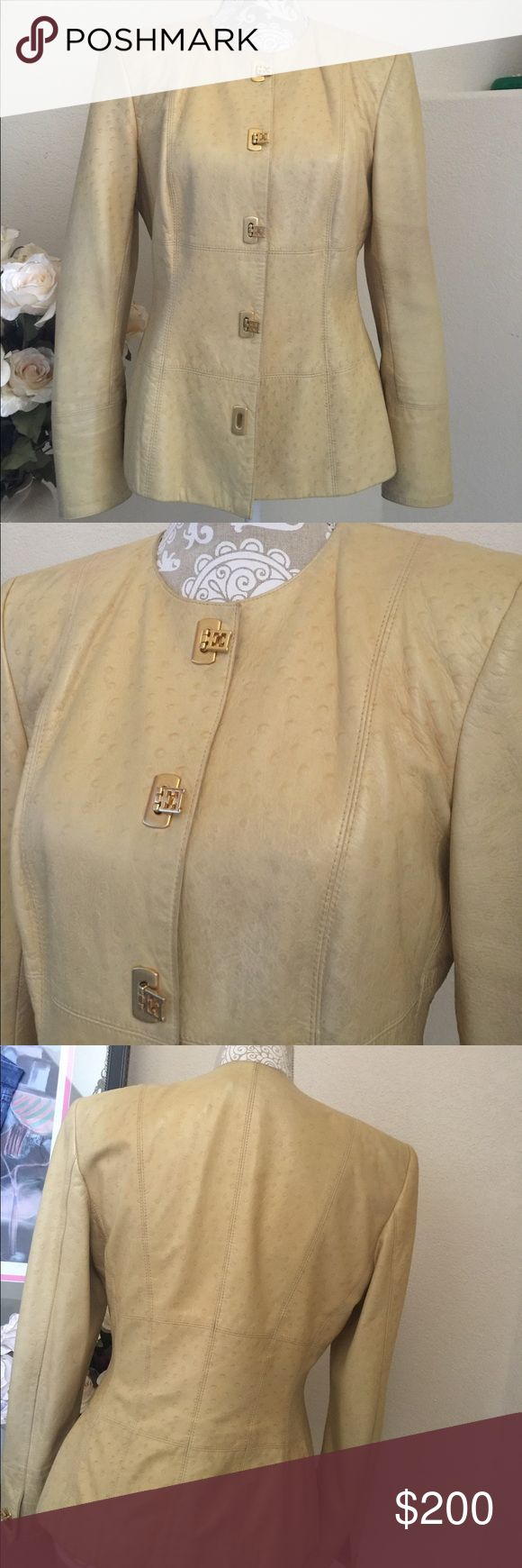ESCADA Exotic OSTRICH  Leather Jacket Sz Euro 38 Gorgeous, exotic Ostrich Leather with its distinctive quill Pattern . Made by ESCADA Fashion House. Made in Italy. Pale Gold with Unusual Gold Tone Buckle Closures. Very high end garment. Has some fading and color variation or Patina that adds to its character. Fits about 4-6 Escada Jackets & Coats Blazers
