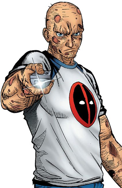 Deadpool - Marvel Comics - Merc with a mouth. This is why Wade has a full body costume and never takes it off. It's all part of his backstory.     His real one.  Cancer, scientific research, gone wrong, thrown out to die, was labeled a Deadpool, and  he escaped and became the merc with the mouth.
