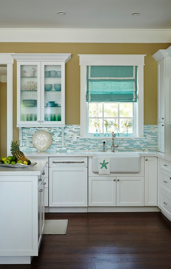 Beautiful Beach House Kitchen With Shimmery Turquoise 1 4 Tile Backsplash Beach Kitchens Pinterest Paint Colors Turquoise And Shimmery