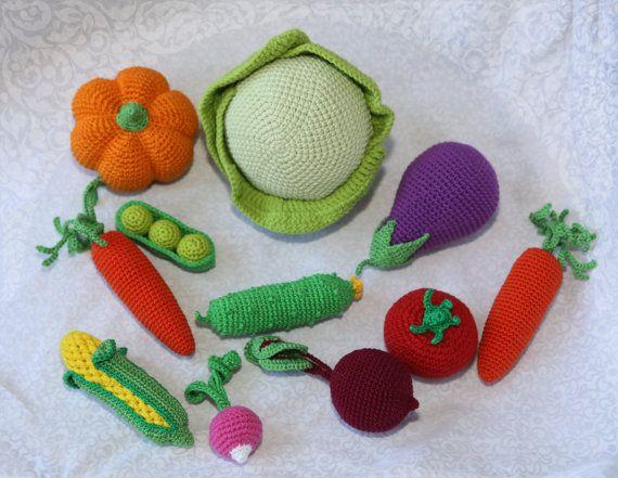 10 Pieces  Crochet Vegetables  great Set  от SlingNecklaceAndToys