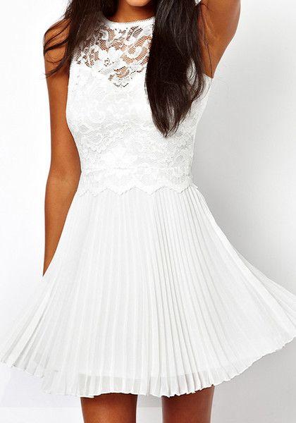 @LookBookStore White Lace Pleated Dress