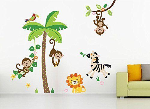 Buy Funny Animals | Kids Room Wall Sticker | Wall Art - SRG India   #room #wallart #art #sticker #funny #animals #monkey #roomdesign #homedecor