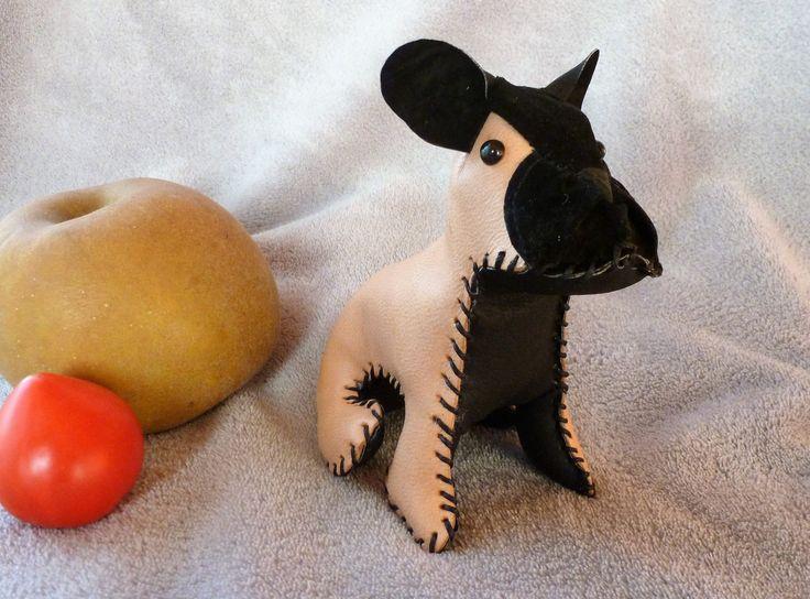 Mini bulldog francés cuero marrón de Decopet67 en Etsy