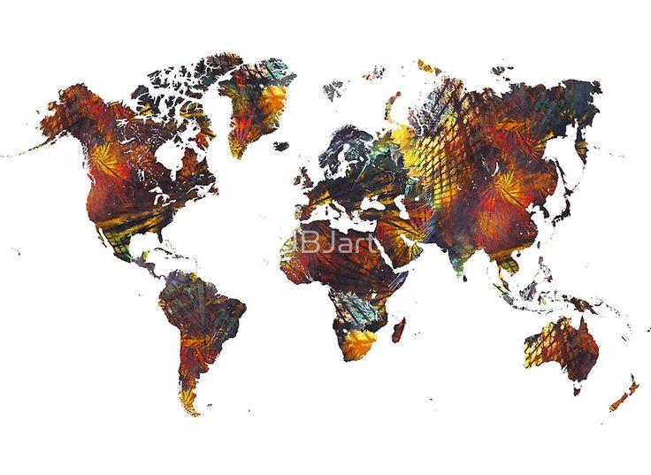 World Map Cube art