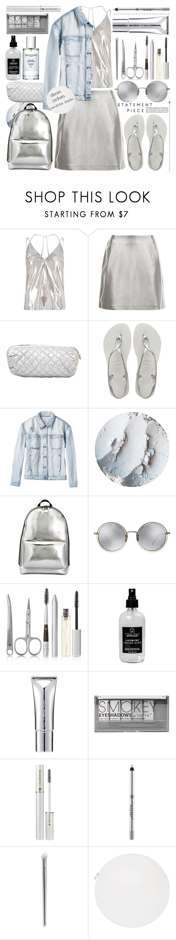"""""""Denim Jackets 4"""" by jan31 ❤ liked on Polyvore featuring River Island, New Look, Chanel, Havaianas, RVCA, 3.1 Phillip Lim, Linda Farrow, BBrowBar, Little Barn Apothecary and New CID Cosmetics"""