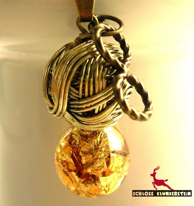 Ketten kurz - DOUBLE INFINITY Kette GlasKugel 18 Karat Blattgold - ein Designerstück von Schloss-Klunkerstein bei DaWanda