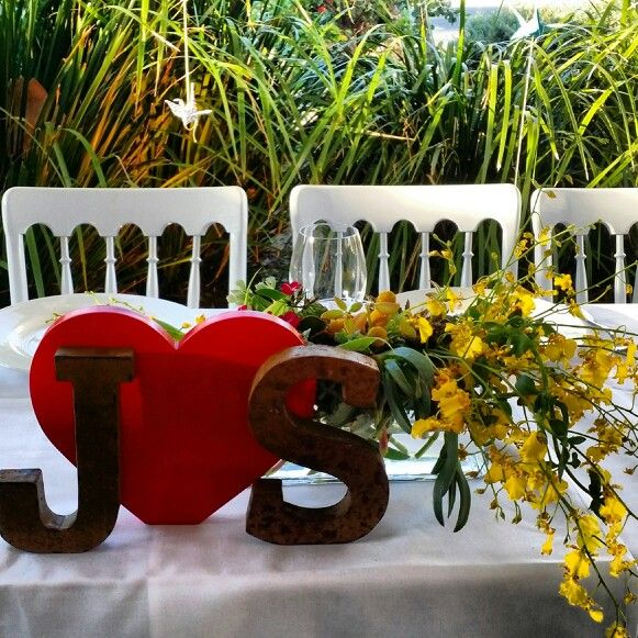 Bride and groom initials - Jireh & Sho's Belongil Beach wedding. #weddings #weddingstyle#byronbayweddings #beachweddings#tablescape
