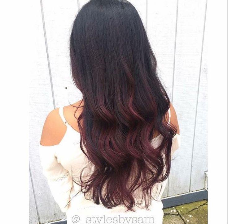 burgundy ombré on natural black hair #samcontempo