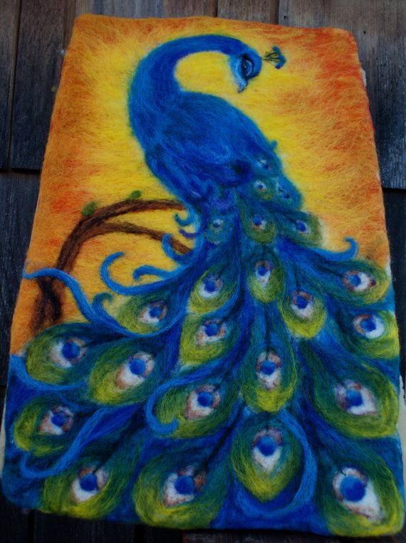 Hand Felted Peacock Tapestry by NaliiOnEtsy on Etsy, $300.00