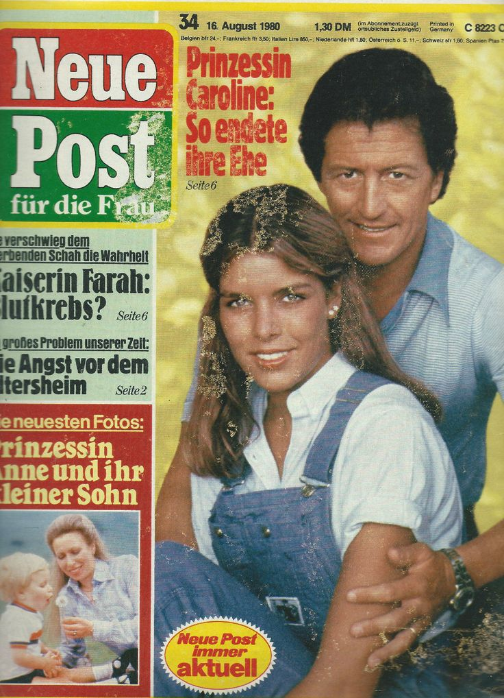 Neue Post - Titelblatt vom 16. August 1980 - Prinzessin Caroline mit ihrem Ex-Ehemann Philippe Junot