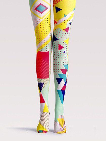 Multicolor Geo Pattern High Waist Tights