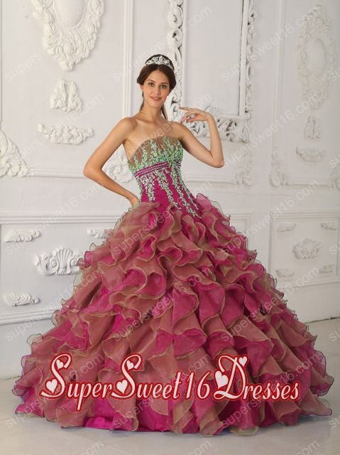 Fuchsia Ball Gown Strapless With Organza Beading and Appliques For Sweet 16 Ball Gowns