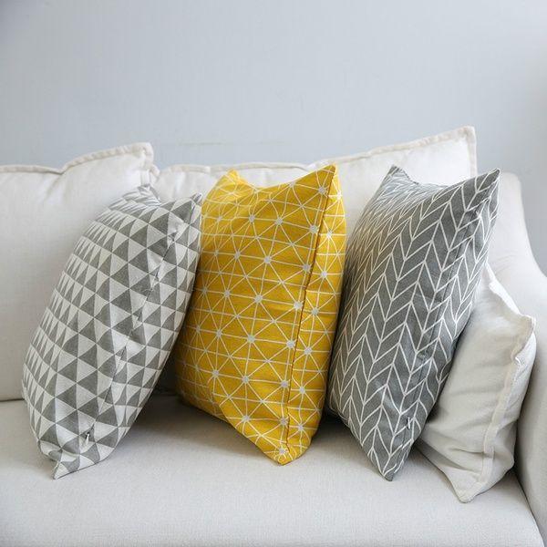 Modern Sofa Cushion Cover Yellow Grey Cotton Linen Decorative Throw Pillow Cover Plaid Geometry Printed Bedding Home Decor Wish Modern Sofa Cushion Cover Y